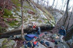 Rock Climbing Photo: Avery finishing Off the Rails