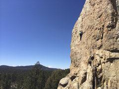 Rock Climbing Photo: Corrina Gibson on a cold March morning.