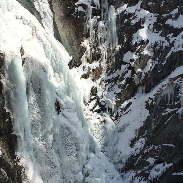 Rock Climbing Photo: Matt Jerousek on Bear Creek Falls, January, 2016. ...