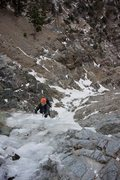 Rock Climbing Photo: TYeary near the top of the ice. Photo by Tom Bixle...