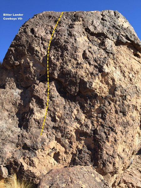 Rock Climbing Photo: Cry Baby Boulder South Face Topo