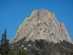 Rock Climbing Photo: Peña Bernal as seen from the town of Bernal.  Pho...