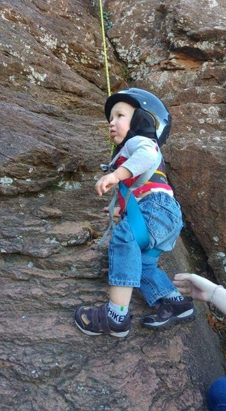 Rock Climbing Photo: My son's first climb