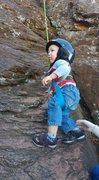 Rock Climbing Photo: My son's first climb
