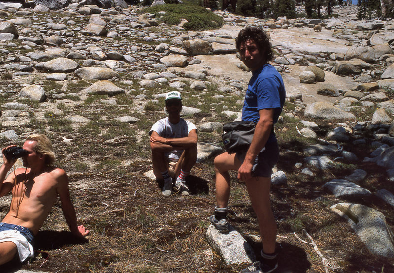 Al 'Dude' Swanson and the late Billy Blitzo hanging out at the base of the Back Breaker crack in June 1988.