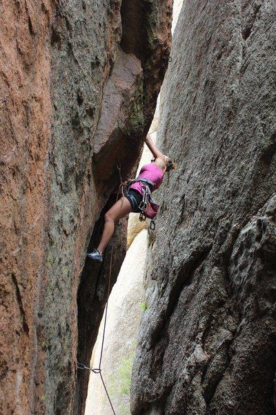 Rock Climbing Photo: Heading up to the third bolt.