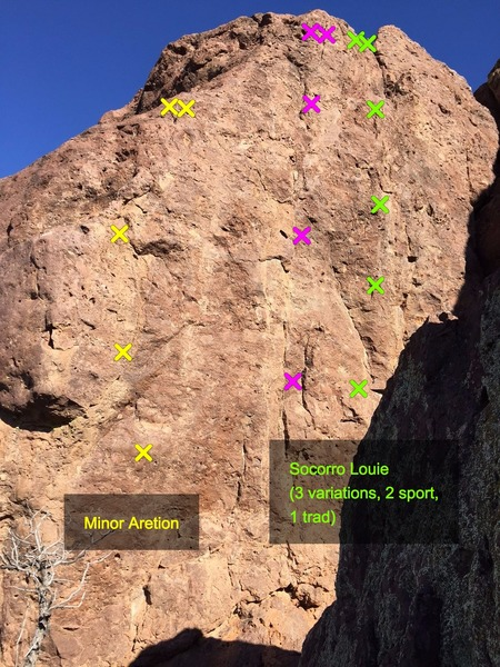 Minor Aretion on the left side, Socorro Louie routes in the middle and right side