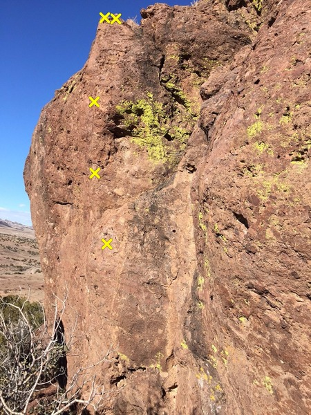 Rock Climbing Photo: Pro locations for unknown route at the farthest ri...
