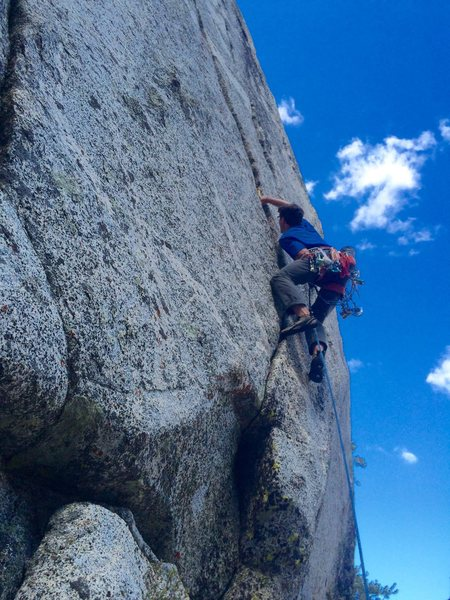 Rock Climbing Photo: JC on his mega fingercrack project!
