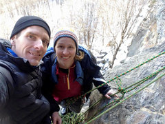 Rock Climbing Photo: a chilly belay ledge in January...it was nice unti...