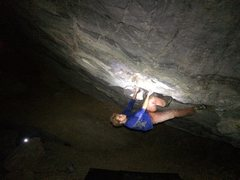 Rock Climbing Photo: Ben Crawford on Plutonia (V8) in the lowest cave
