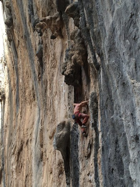 Ben Crawford on this amazingly featured route. Such an incredible line with great tufa rests in between cruxes