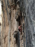 Rock Climbing Photo: Ben Crawford on this amazingly featured route. Suc...
