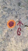 Rock Climbing Photo: Orange and red circle and carabiner paint marks de...