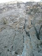 Rock Climbing Photo: Goes to the double crack up high. Watch out for th...