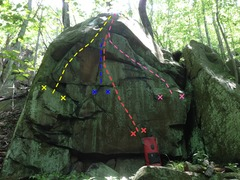 Rock Climbing Photo: Routes and project:  Patience = yellow Sloper prob...