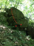Rock Climbing Photo: Route in red.