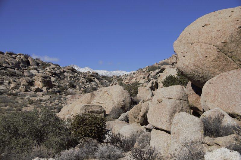 Rock Climbing Photo: Snow capped hills.