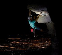 Rock Climbing Photo: Hitchcock roof at night