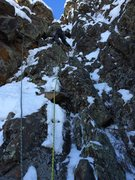 Rock Climbing Photo: Pitch 1, M4. The chockstone crux is just above the...