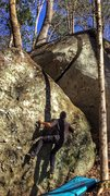Rock Climbing Photo: Working my way up Split Decision (Start)