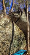 Rock Climbing Photo: Working my way up Split Decision (Off Width)