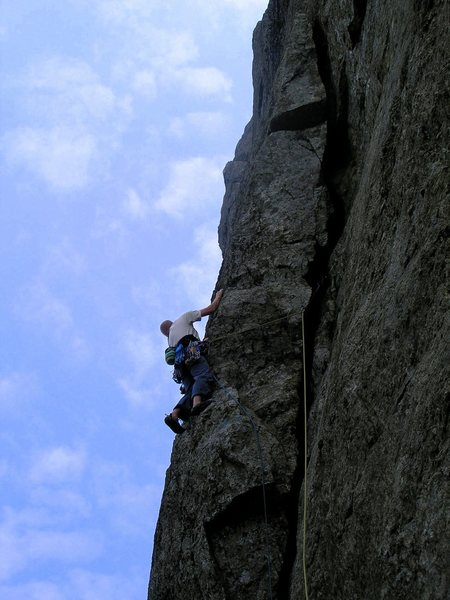 "Rock Climbing Photo: Martin Dale leading the ""new"" version of..."