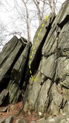 Rock Climbing Photo: Use only holds on the right-leaning wedge-shaped f...