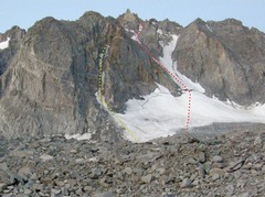 Rock Climbing Photo: The North Couloir in red. Northeast Couloir in yel...