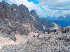 Rock Climbing Photo: Descending the ridge line to Forcella delle Masena...