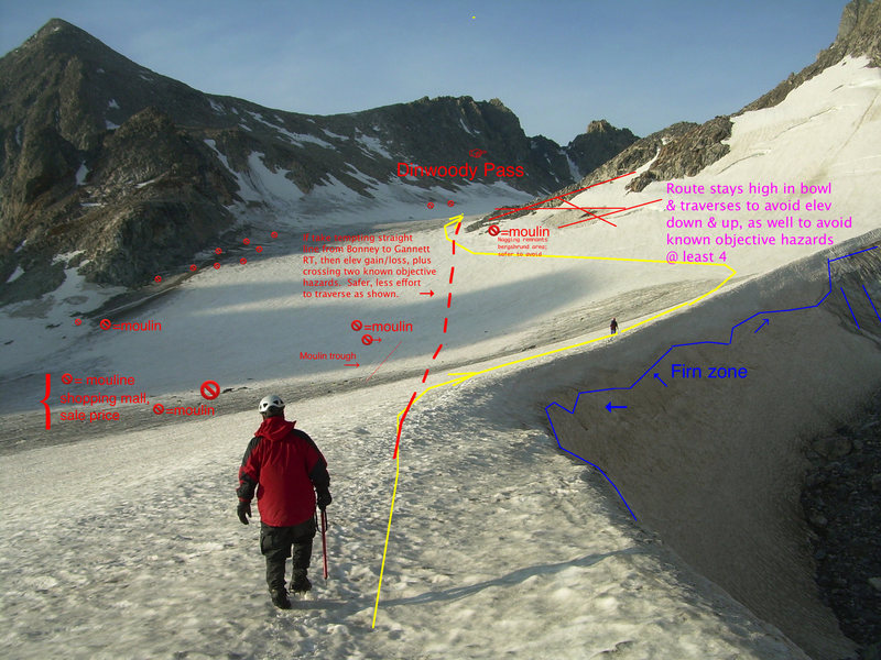 Warbonnet beta map. Passing by moat, Dinwoody Glacier, below Gannett Peak, heading towards Bonney Pass. Submitted to Summit Post by paclimber, Jul 19, 2007