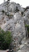 Rock Climbing Photo: Alex Street heading up Snake Dance, 5.11a, in Indi...