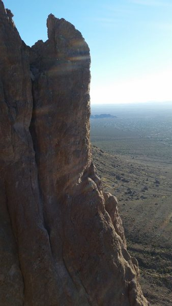 Photo of spider walk and North buttress from top of Rink-Kudo