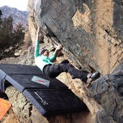 Rock Climbing Photo: Working up the side of Pseudo Magnum, V4.