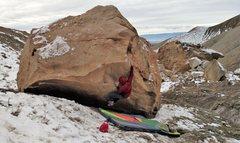 Rock Climbing Photo: Brad sticking the crimp on Dig Dug.