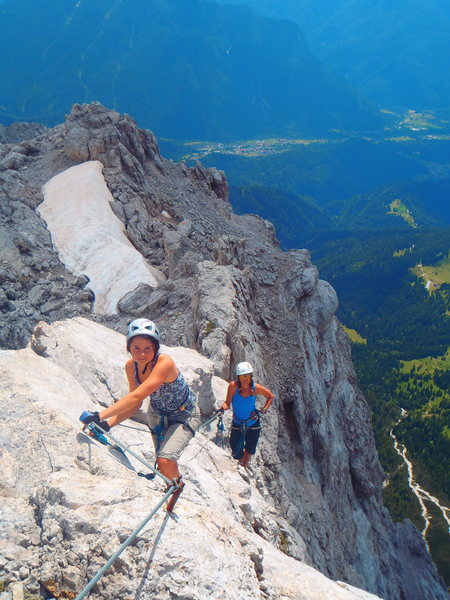 Rock Climbing Photo: Cruising and easy section of a Ferrata on Moiazza