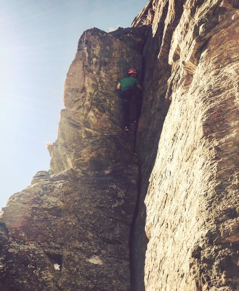 "Wade Morris, during the first ascent of ""Wendy's Splitter"", in mountain boots no less to uphold the alpine ethic of the M3 Crag."