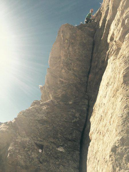 "Rock Climbing Photo: Wade Morris atop ""Wendy's Splitter."""