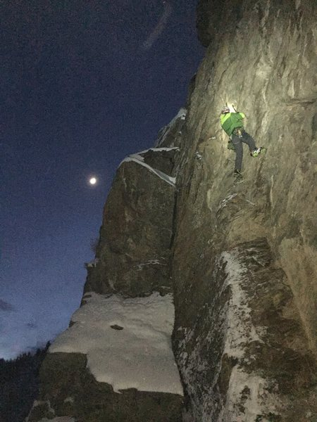 Jay Karst at M3 crag and taking some laps on Pis-Aller by moonlight.