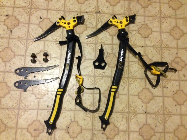 Rock Climbing Photo: Ice tools, Extra Picks, weights, adze and leashes