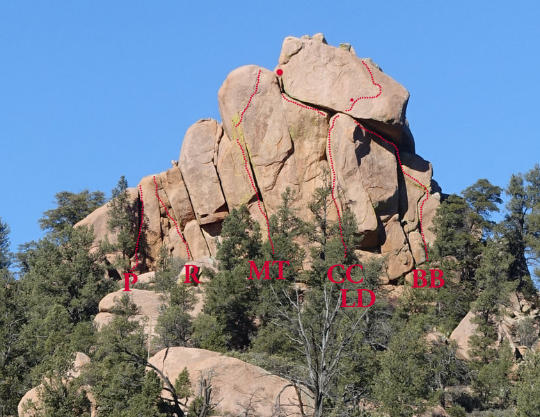 Rock Climbing Photo: South face of West Point with routes' initials.