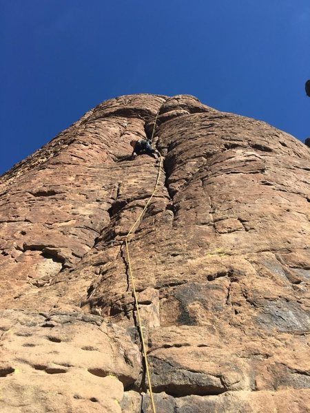 Rock Climbing Photo: Becky Evans approaching the first overhang on Loos...