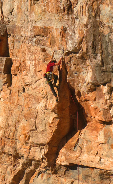 Eric gets a shake after the crux<br> Claim Jumper (5.12)
