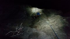 Rock Climbing Photo: Almost to the lip (second crux).