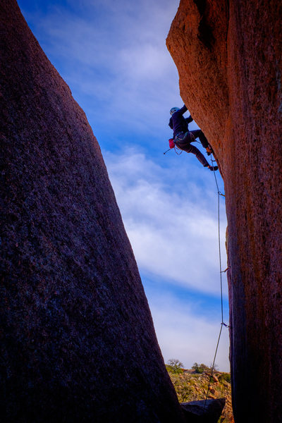 Rock Climbing Photo: Derek pulling through the crux on lead. This persp...