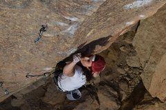 Rock Climbing Photo: Cranking through the lower crux on Vicious Fish