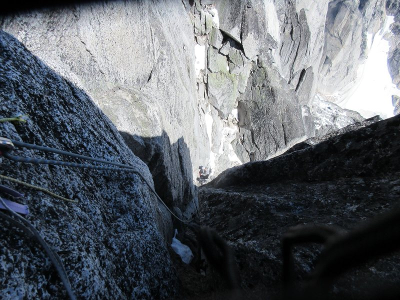 First rappel at the top of the gully on pitch 15.