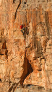 Rock Climbing Photo: Eric Bissell starts the redpoint crux Claim Jumper...