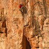 Eric Bissell starts the redpoint crux Claim Jumper (5.12)