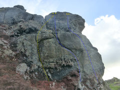 Rock Climbing Photo: blue is sport, yellow is top rope only.
